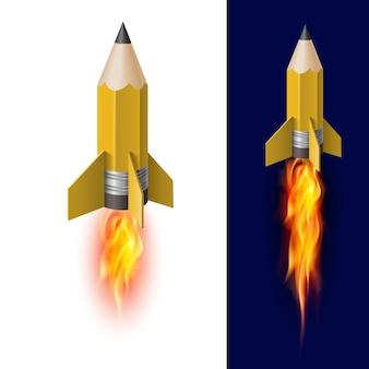Lápis amarelo como foguete voador