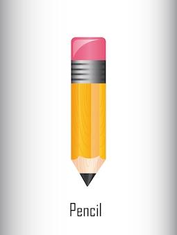 Lápis bonito sobre ilustração vetorial de fundo cinza