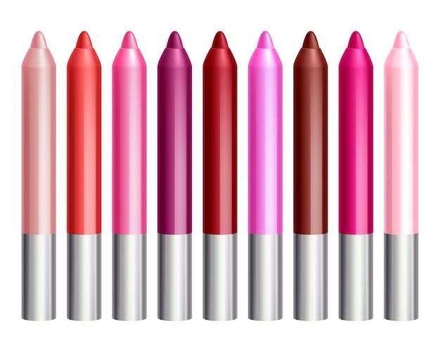 Lápis coloridos do brilho do bordo ajustados. ilustração de cosméticos de maquiagem.