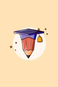 Lápis com ilustração dos desenhos animados do ícone do vestido