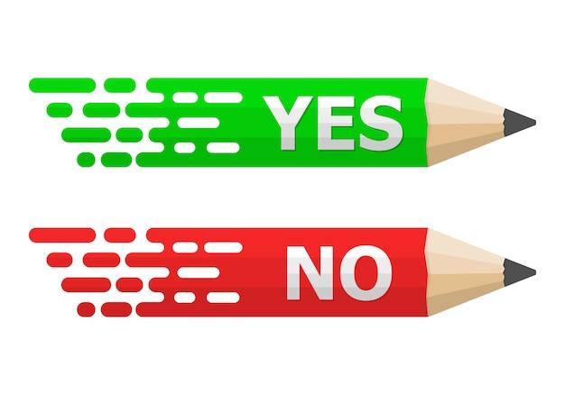 Lápis com texto sim e não. ilustração.