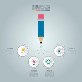 Lápis com vetor de desenho infográfico de linha de tempo.