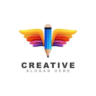 Lápis criativo com logotipo de asas, modelo de logotipo gradiente de escola de educação