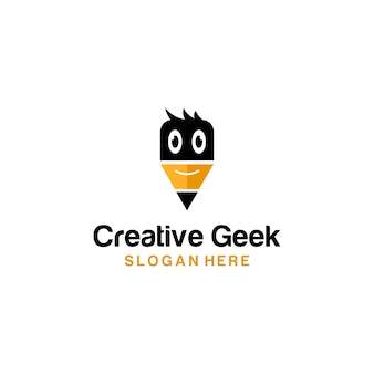 Lápis criativo geek logo