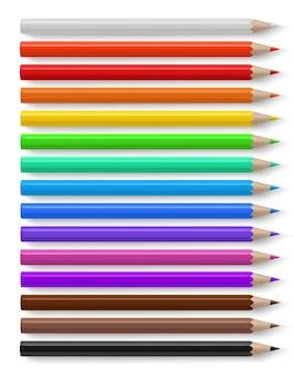 Lápis de cor com lápis de madeira de cores vivas diferentes, papelaria criativo