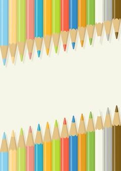 Lápis de cor de madeira multicoloridos em alinhamento diagonal