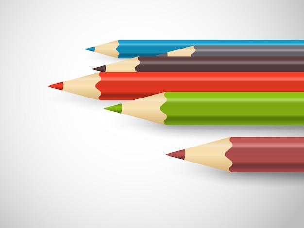 Lápis de cor diferentes em uma linha. conceito de arte
