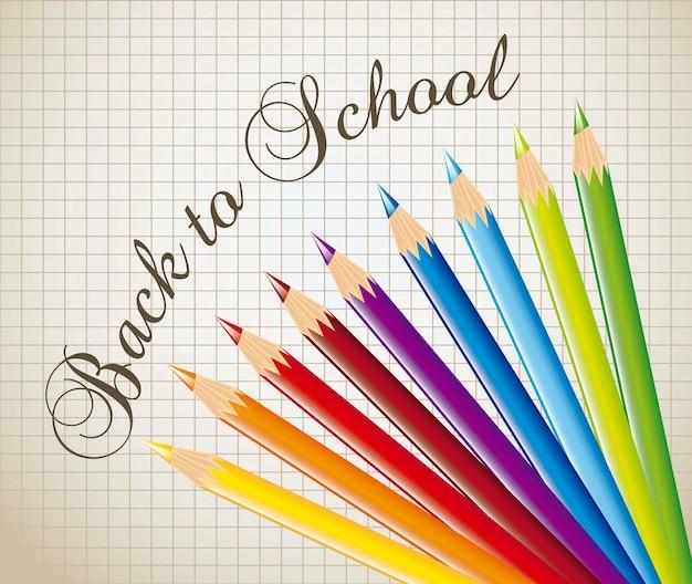 Lápis de cor sobre o caderno de papel de volta ao vetor de escola
