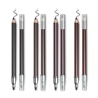 Lápis de delineador de maquiagem cosméticos de dupla face colorido preto marrom escuro castanho violeta