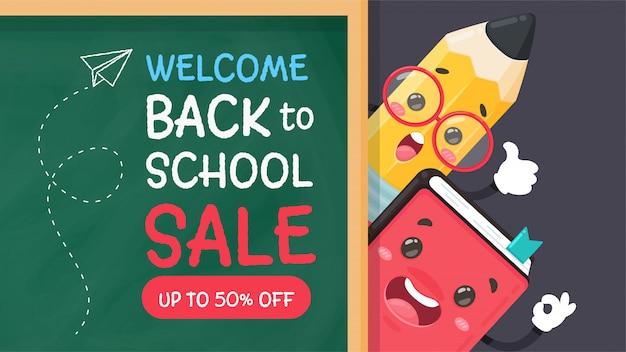 Lápis de desenho animado e piscina escreva uma mensagem de boas-vindas de volta à escola no quadro-negro.