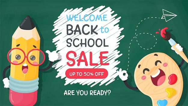 Lápis de desenho animado escreva uma mensagem de boas-vindas de volta à escola no quadro-negro.