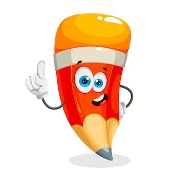 Lápis de escola engraçado personagem de desenho animado de lápis alegre de volta ao conceito de escola