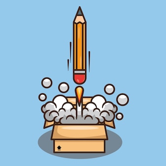 Lápis de foguete lançado a partir de uma ilustração de desenho vetorial de caixa