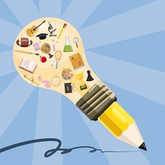 Lápis de lâmpada de conceito de educação, estilo cartoon