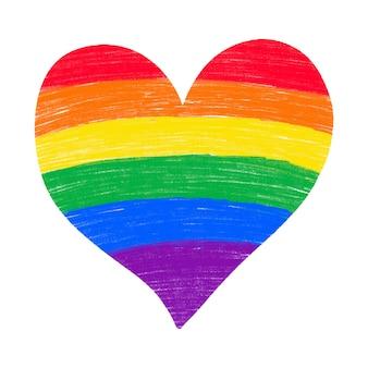 Lápis de lápis desenhado mão do coração do arco-íris texturizado isolado. cores da bandeira do orgulho gay lgbtq.