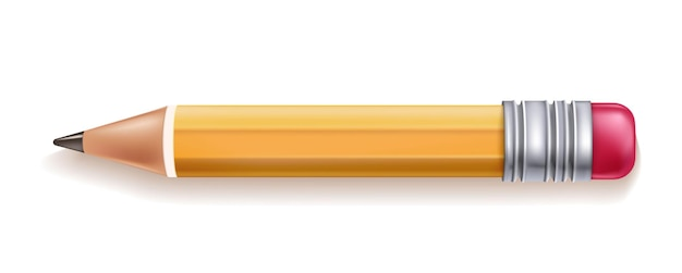 Lápis de madeira amarelo realista de vetor com borracha de borracha lápis afiado