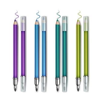 Lápis de olho colorido azul esmeralda verde roxo violeta frente e verso