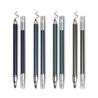 Lápis de olhos coloridos azul escuro verde esmeralda frente e verso