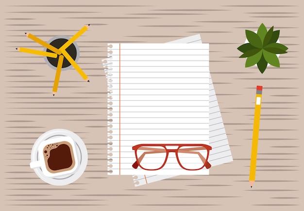 Lápis de papel e processo de trabalho de café