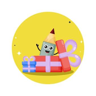 Lápis de presente de aniversário, mascote de personagem fofa