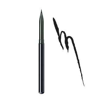 Lápis delineador e maquiagem traço de tinta
