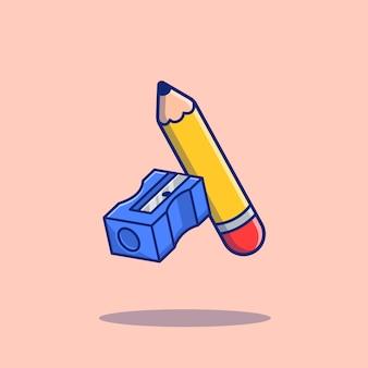 Lápis e apontador cartoon icon ilustração. conceito de ícone de educação isolado. estilo cartoon plana