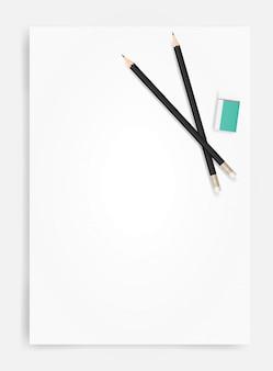 Lápis e borracha em fundo de folha de papel branco