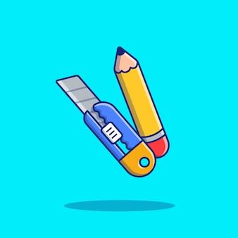 Lápis e cortador dos desenhos animados icon ilustração. conceito de ícone de educação isolado. estilo cartoon plana