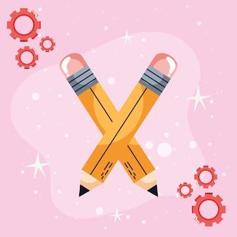 Lápis e engrenagens aprendendo o conceito