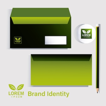 Lápis e envelopes elementos da identidade da marca no design de ilustração de empresas