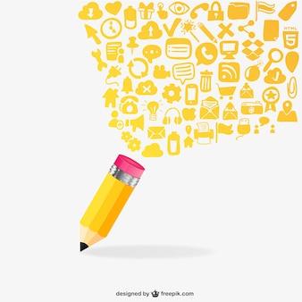Lápis e ícones lisos