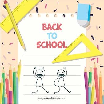 Lápis e materiais escolares com design plano