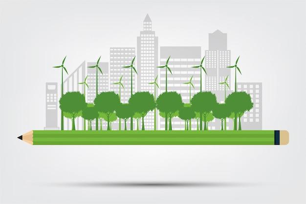 Lápis ecologia e conceito ambiental, cidade com idéias ecofriendly