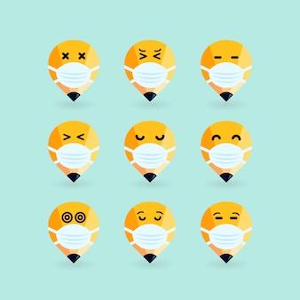 Lápis emoji com máscara na boca