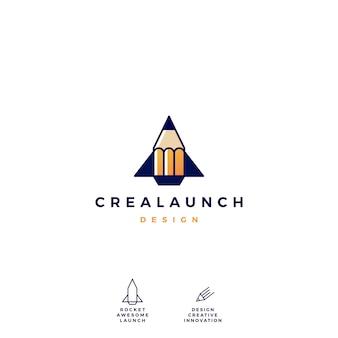 Lápis foguete lançamento logo vector icon ilustração