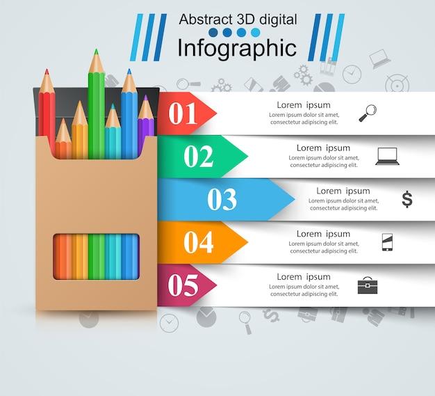 Lápis, ícone da educação. infográfico de negócios