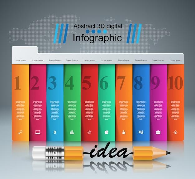 Lápis, ideia - infográfico de educação de negócios