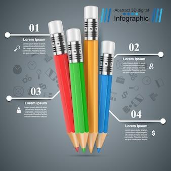 Lápis, modelo de infográfico de educação