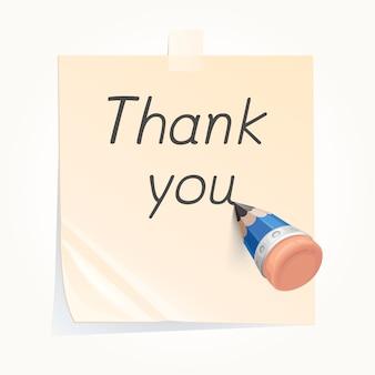 Lápis para escrever obrigado
