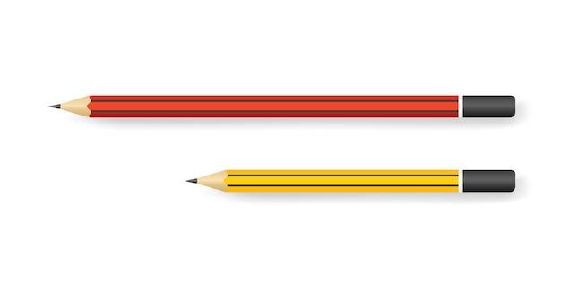 Lápis realistas de vários comprimentos isolados no branco