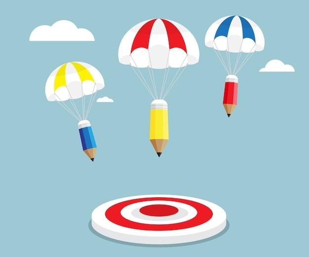 Lápis voando com pára-quedas para visar ilustração vetorial