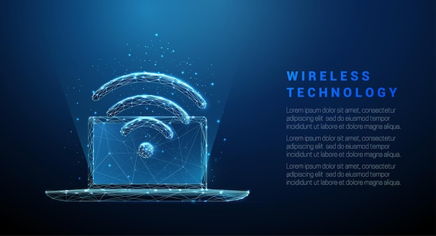 Laptop abstrato azul com símbolo de wi-fi conceito de tecnologia sem fio design de baixo estilo poli