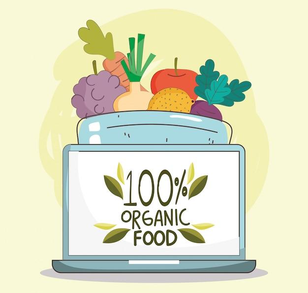Laptop alimentos frescos orgânicos mercado saudável com ilustração de frutas e legumes
