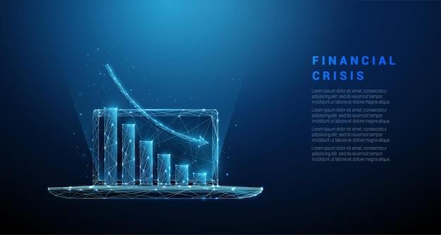 Laptop azul abstrato com gráfico indo para baixo. conceito de crise financeira.
