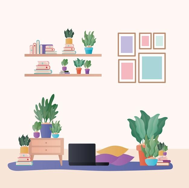 Laptop com almofadas e plantas em design de sala de estar, decoração de interiores, apartamento em prédio residencial e