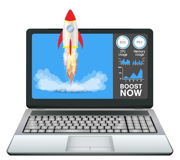 Laptop com aumento de aplicação