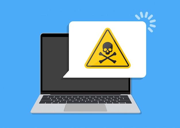 Laptop com balão de notificação de vírus em um design plano