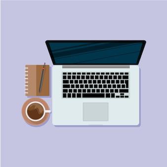 Laptop com café com ilustração de caderno de trabalho.
