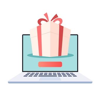 Laptop com caixa de presente