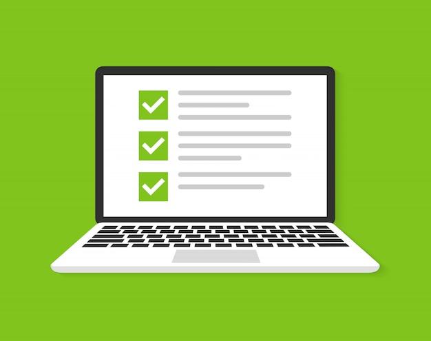 Laptop com caixa de seleção ícone plana ícone